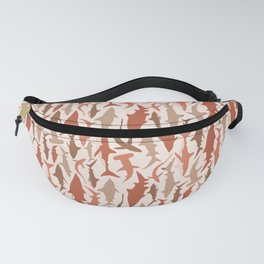 Swimming with Sharks in Coral and Brown Fanny Pack