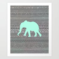 mint Art Prints featuring Mint Elephant  by Sunkissed Laughter