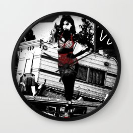 Ornamental Pinup in Black, White, and Red Wall Clock