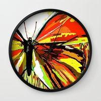 butterfly Wall Clocks featuring Butterfly  by Saundra Myles