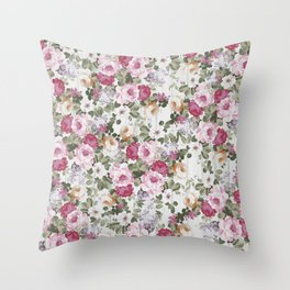 Vintage rustic white wood blush pink floral Throw Pillow