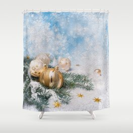 Gold Blue Ornaments Shower Curtain