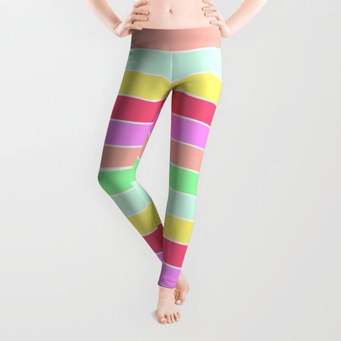 Pastel Rainbow Sorbet Horizontal Deck Chair Stripes Leggings