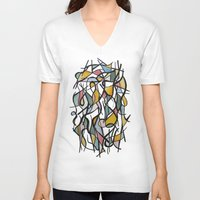kandinsky V-neck T-shirts featuring Geometric Abstract Watercolor Ink by Ashley Grebe