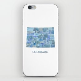 Colorado Counties BluePrint Watercolor Map iPhone Skin