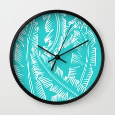Modern Palm Leaves - Turquoise Blue and White Wall Clock