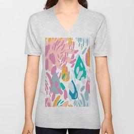Pastel pink blue orange watercolor whimsical brushstrokes Unisex V-Neck