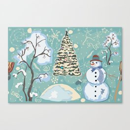 Snowman In Woods Canvas Print