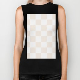 Large Checkered - White and Linen Biker Tank