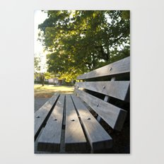 Empty Park Bench Canvas Print
