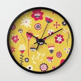 Scandi Floral Yellow Wall Clock