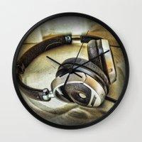 headphones Wall Clocks featuring Headphones by AngelEowyn