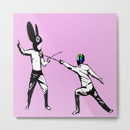 music battle fencing Metal Print