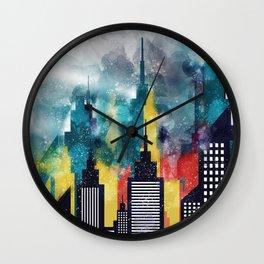 New York City Skyscrapers In Watercolor Art, Travel Digital Download, New York Poster, Wall Art Home Wall Clock