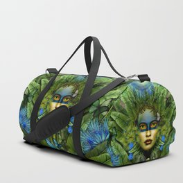 """Tropical green and indigo jungle Woman"" Duffle Bag"