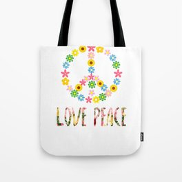 Peace Sign Love 60s 70s Hippie Costume graphic Tote Bag