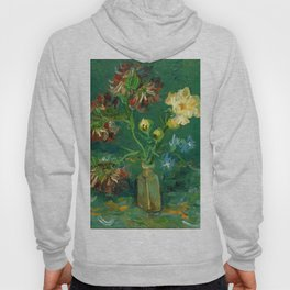 """Vincent Van Gogh """"Small Bottle with Peonies and Blue Delphiniums"""" Hoody"""