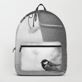 Songbird (Great Tit) on Autumn Day Black and White #decor #society6 #buyart Backpack