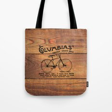 Black Brown Vintage American Bicycle on Wood Print Tote Bag