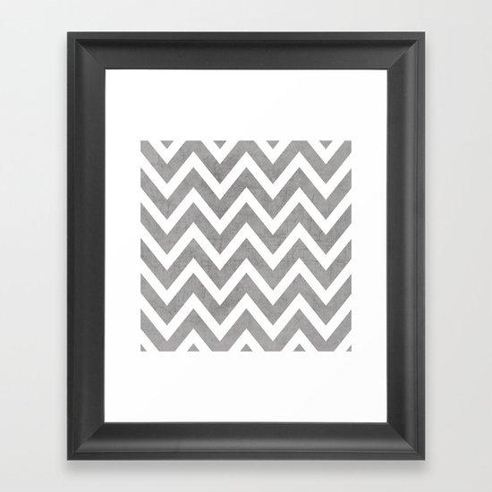 gray chevron Framed Art Print