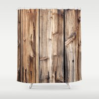 wood Shower Curtains featuring Wood by Patterns and Textures