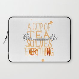 A Cup of Tea Solves Everything  Laptop Sleeve