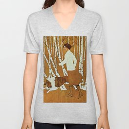 Coles Phillips 'Fadeaway Girl' A Walk in the Woods Unisex V-Neck