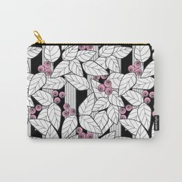 Pink berries on black and white striped background . Carry-All Pouch