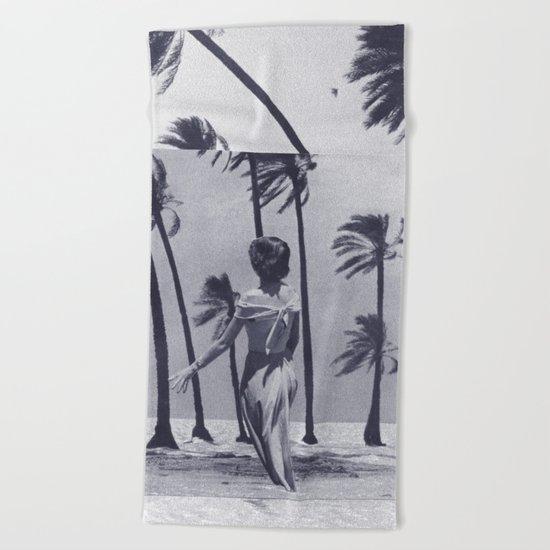 Tropical Storm in Purple Beach Towel