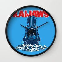 pacific rim Wall Clocks featuring KaiJaws (Pacific Rim/Jaws) by Tabner's