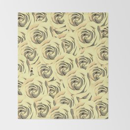blooming yellow rose pattern texture abstract background Throw Blanket