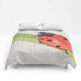 Ladybird on a blade of grass Comforters