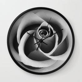 Rose Flower Close Up Black and White Floral Photography Wall Clock