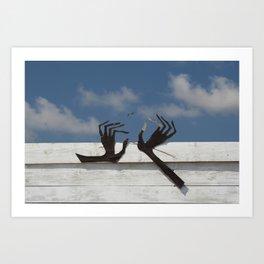 Hands and bird Art Print