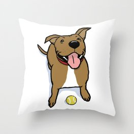 Big Smiley Brown Dog with Tennis Ball Throw Pillow