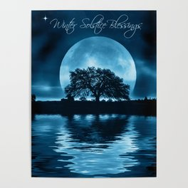 Winter Solstice Blessings Cards with Oak Tree, Moon and Water Poster