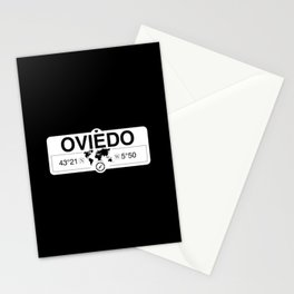 Oviedo Principado de Asturias with World Map GPS Coordinates Stationery Cards