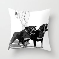 rottweiler Throw Pillows featuring Fashion Rottweiler  by Gregory Casares