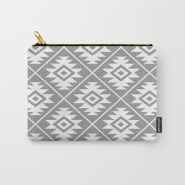 Aztec Symbol Pattern White on Gray Carry-All Pouch