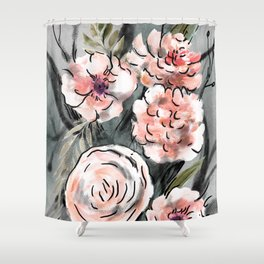 Cream and grey roses bouquet Shower Curtain