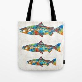 Fish Art Print - Colorful Salmon - By Sharon Cummings Tote Bag