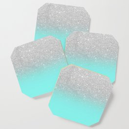 Modern girly faux silver glitter ombre teal ocean color bock Coaster