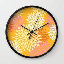 Abstract Flowers Print, Orange, Pink, Yellow Wall Clock