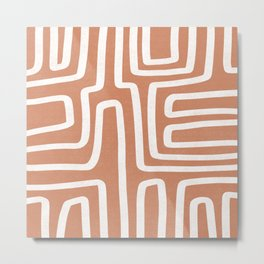 Desert Abstract Lines | Terra Cotta  Metal Print