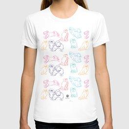 Colourful Tibetan Spaniel Minimalist Outline Pattern T-shirt