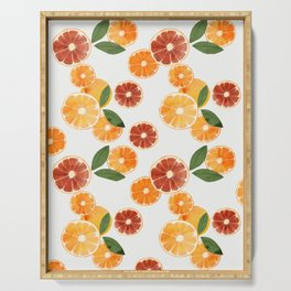 sliced oranges spring watercolor Serving Tray