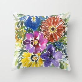 gerbera, iris and more Throw Pillow