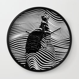 Minimalist Abstract Modern Ripple Lines Projected Woman Sensual Cool Feminine Black and White Photo Wall Clock