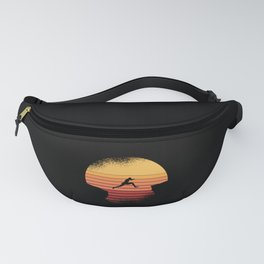 Man jumping infront of retro sunset mountains Fanny Pack