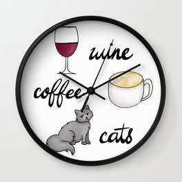 Wine Coffee Cats Wall Clock